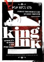 Poster design for Pop Recs Ltd's monthly spoken word and poetry evening 'King In